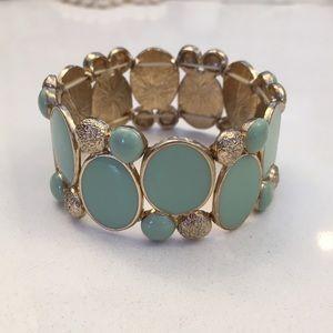 Stretchable Mint Green & Gold bracelet